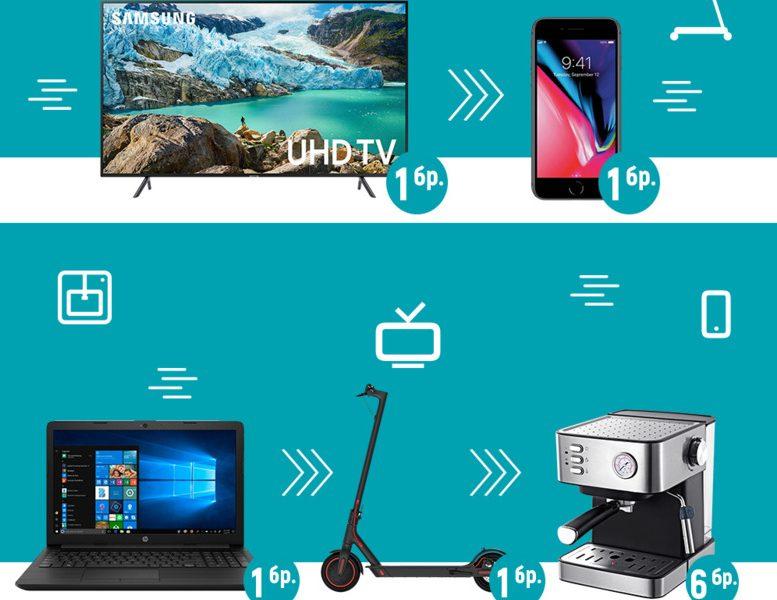Спечелете телевизор, ноутбук, iPhone 8, ел. тротинетка и кафемашини