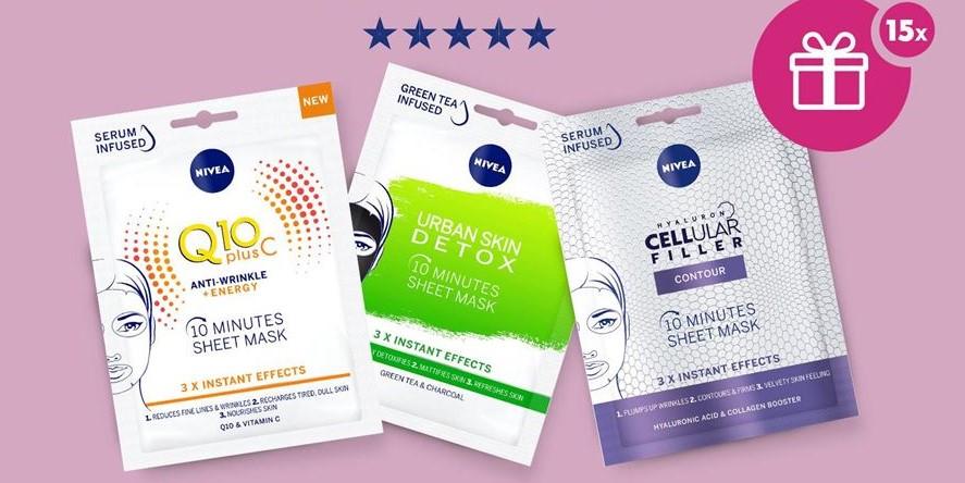 Спечелете 15 комплекта с лист маски за лице на NIVEA: Q10 Plus C, Urban Detox и Cellular Filler