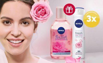 Спечелете 3 комплекта с дезодорант и мицеларна вода Nivea Rose Touch