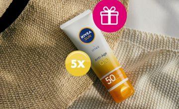 Спечелете 5 слънцезащитни крема за лице NIVEA SUN UV Anti-age, обогатени с коензим Q10